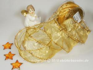Weihnachtsband Lamettatraum Honig mit Draht 50mm