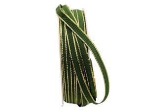 Geschenkband Stretto grün / gold 6mm ohne Draht