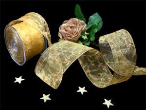 Organzaband Hauch des Orients Honiggold mit Draht 62mm
