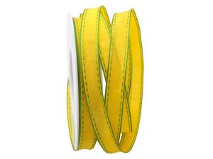 Dekoband Kontrasto gelb / hellgrün 15mm mit Draht