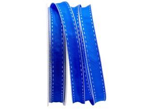 Dekoband Kontrasto blau / weiß 15mm mit Draht