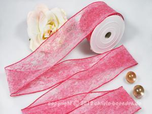 Vliesband Vlies Pink mit Draht 55mm