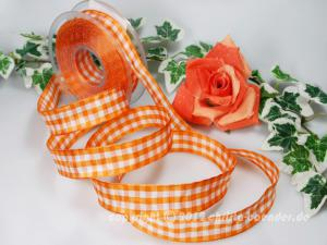 Karoband Vichykaro Orange mit Draht 25mm
