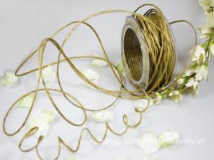 Papierkordel Gold mit Draht 2mm
