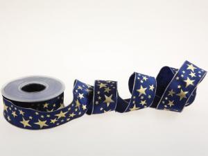Weihnachtsband Gold-Sterne Blau mit Draht 40mm