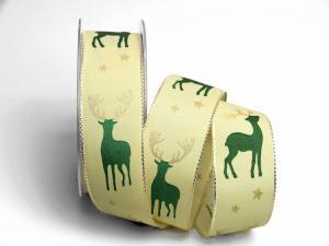 Weihnachtsband Hirsch 40mm creme mit Draht