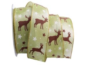 Weihnachtsband Cervo grün / braun 40mm mit Draht