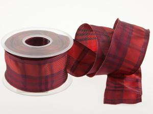 Karoband Schottenkaro 65mm rot  mit Draht