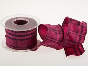Karoband Schottenkaro 65mm pink mit Draht