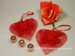 Dekoanhänger Herzanhänger mit Rosen Rot ohne Draht