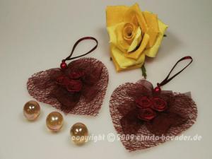 Dekoanhänger Herzanhänger mit Rosen Bordeaux ohne Draht