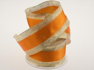 Goldband mit Satinstreifen Orange mit Draht 65mm
