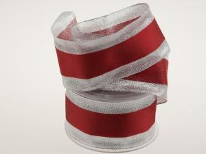 Silberband mit Satinstreifen rot mit Draht 65mm