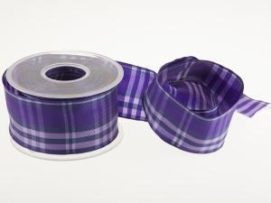 Karoband Schottenkaro 65mm lila mit Draht - Geschenkband günstig online kaufen!