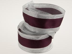 Silberband mit Satinstreifen bordeux mit Draht 65mm