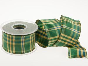 Karoband Schottenkaro 65mm grün mit Draht - Geschenkband günstig online kaufen!
