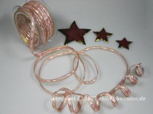 Weihnachtsband Pepone Altrosa mit Draht 6mm