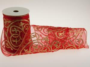 Weihnachtsband Tischband rot 150mm mit Draht - im Bänder Großhandel günstig kaufen!