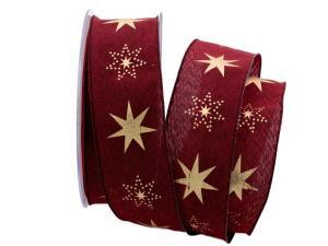 Weihnachtsband Gothland bordeaux 40mm mit Nylonkante