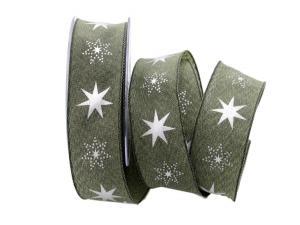 Weihnachtsband Gothland  olive 40mm mit Draht