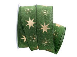 Weihnachtsband Gothland grün 40mm mit Nylonkante