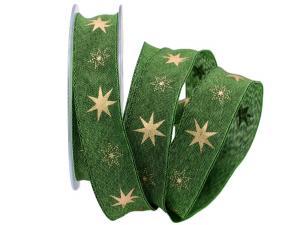 Weihnachtsband Gothland grün 25mm mit Nylonkante