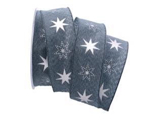 Weihnachtsband Gothland blau 40mm mit Draht