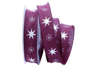 Weihnachtsband Gothland lila 25mm mit Nylonkante