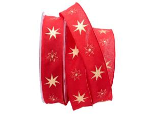 Weihnachtsband Gothland rot 25mm mit Nylonkante