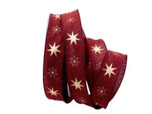Weihnachtsband Gothland bordeaux 25mm mit Nylonkante