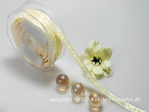 Motivband Blumenwiese Creme ohne Draht 10mm - im Bänder Großhandel günstig kaufen!