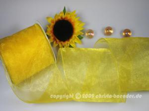 Organzaband Organza 100mm Gelb mit Draht