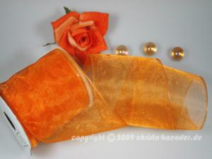 Organzaband Organza 100mm Orange mit Draht