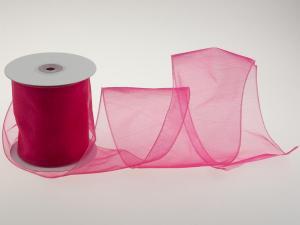 Organzaband Organza 100mm Pink mit Draht