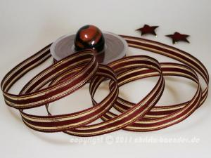 Weihnachtsband Garda Bordeaux Gold mit Draht 15mm