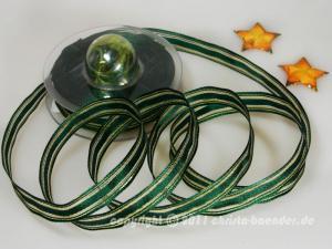 Weihnachtsband Garda Grün Gold mit Draht 15mm