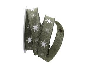 Weihnachtsband Gothland  olive 25mm mit Nylonkante