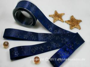 Weihnachtsband Sternschauer Blau Gold ohne Draht 40mm im Bänder Online-Shop günstig kaufen