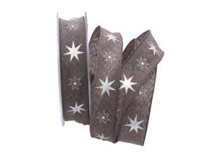 Weihnachtsband Gothland braun 25mm mit Nylonkante