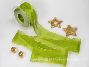 Weihnachtsband Glamour Grün ohne Draht 50mm