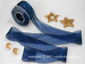 Weihnachtsband Glamour Blau ohne Draht 50mm