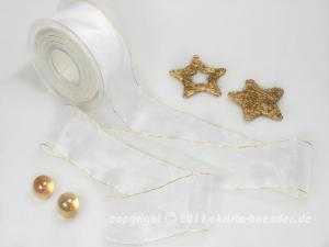 Weihnachtsband Glamour Weiß Gold ohne Draht 50mm