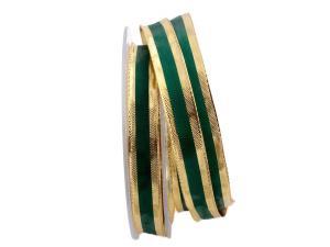 Weihnachtsband Riva Grün Gold mit Draht 15mm