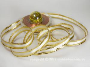 Weihnachtsband Riva Creme Gold mit Draht 15mm