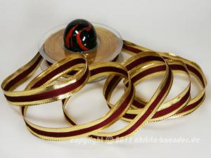 Weihnachtsband Riva Bordeaux Gold mit Draht 15mm