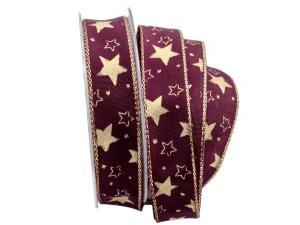 Sternenband Stelle aubergine 25mm mit Draht