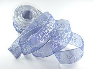 Weihnachtsband Florenz blau mit Draht 40mm