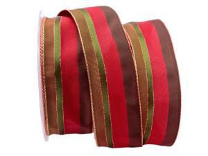 Dekoband Parma rot / grün 40mm mit Draht