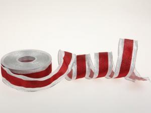 Weihnachtsband Brokatband Rot mit Draht 40mm - im Bänder Großhandel günstig kaufen!