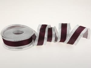 Weihnachtsband Brokatband Bordeaux mit Draht 40mm - im Bänder Großhandel günstig kaufen!